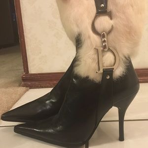 Authentic Christian Dior Black Leather Ankle Boots